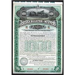 Indiana, Decatur and Western Railway Co. 1895 Specimen Bond.