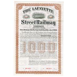 Lafayette Street Railway Co. 1888 $1000 Specimen Bond