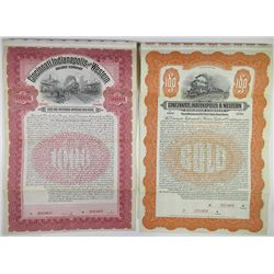 Cincinnati, Indianapolis and Western Railway Co. Specimen Bond Pair