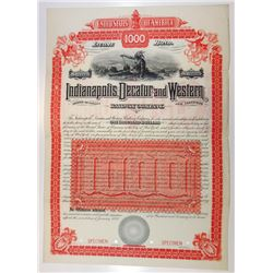 Indianapolis, Decatur and Western Railway Co. 1888 Specimen Bond.