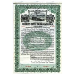 Crooked Creek Railroad and Coal Co., 1911 Specimen Bond.