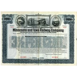 Minnesota and Iowa Railway Co., 1924 Specimen Bond