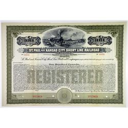 St. Paul & Kansas City Short Line Railroad Co. 1911 Specimen Registered Bond Sextet.