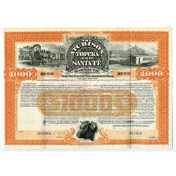 Atchison, Topeka and Santa Fe Railway Co. 1899 Specimen Bond