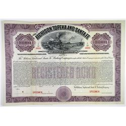 Atchison, Topeka and Santa Fe Railway Co. 1912 Specimen Bond
