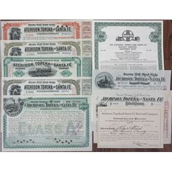 Atchison, Topeka and Santa Fe Railroad Co., 1890-1971 Collection of I/C Bonds and 1 Specimen