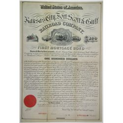 Kansas City, Fort Scott & Gulf Railroad Co., 1879 Specimen Bond