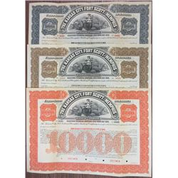 Kansas City, Fort Scott and Memphis Railway Co. Specimen Bond Trio