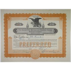 Kansas City, Merriam & Shawnee Electric Railroad Co., 1928 I/U Stock Certificate
