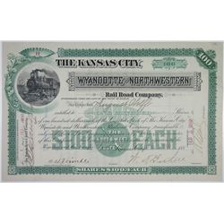 Kansas City, Wyandotte & Northwestern Rail Road Co., 1890 I/U Stock Certificate