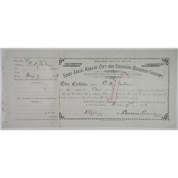 Saint Louis, Kansas City and Colorado Railroad Co 1886 I/C Stock Certificate