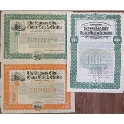 Kansas City Outer Belt & Electric Railroad Co. 1903-1910 Stock Certificate & Bond Trio