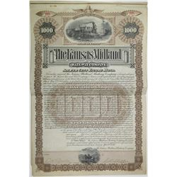 Kansas Midland Railway Co. 1887 I/U Bond