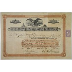 Avoyelles Railroad Co. 1900 Stock Certificate S/N 1