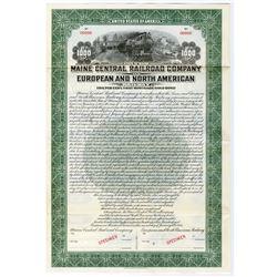 Maine Central Railroad Co. & European and North American Railway 1933 Specimen Bond
