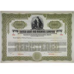 United Light and Railways Co., ca.1920-1930 Specimen Bond