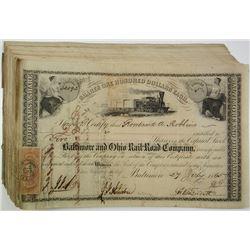 Baltimore & Ohio Railroad Co. 1865 I/C Stock Certificate Group.