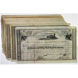 Baltimore and Ohio Railroad Co. Group of 25 Stock Certificates, ca. 1860-1880)