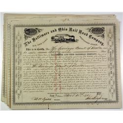 Baltimore and Ohio Railroad Co. Group of 25 Stock Certificates, ca. 1870s
