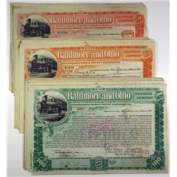 Baltimore and Ohio Railroad Co. Group of 50 Stock Certificates, 1899