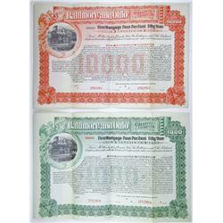 Baltimore and Ohio Railroad Co., 1898 Registered Specimen Bond Pair.