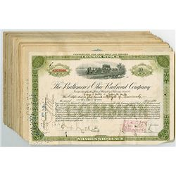 Baltimore and Ohio Railroad Co., Group of Cancelled Stock Certificates ca.1923-1928