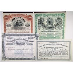 North East States Railroad Stock and Bond Quartet, ca.1889-1892