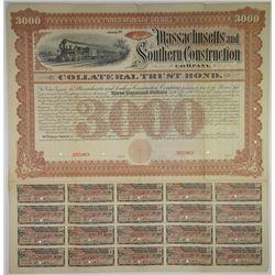 Massachusetts and Southern Construction Co. 1887 Specimen Bond Rarity