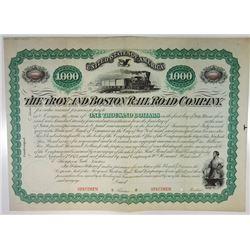 Troy & Boston Rail Road Co., 1874 Specimen Bond