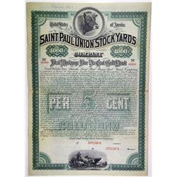 Saint Paul Union Stock Yards Co., 1886 Specimen Bond