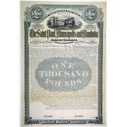 Saint Paul, Minneapolis & Manitoba Railway Co., 1890 Specimen Bond