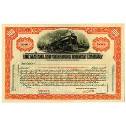Alabama and Vicksburg Railway Co., ca.1900-1930 Specimen Stock Certificate.