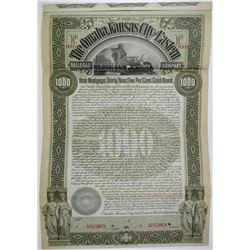Omaha, Kansas City & Eastern Railroad Co. 1897 Specimen Bond