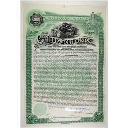 St. Louis Southwestern Railway Co. 1891 Specimen Bond