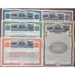 Missouri Pacific Railway Co. 1909 Specimen Bond Group of 5 different