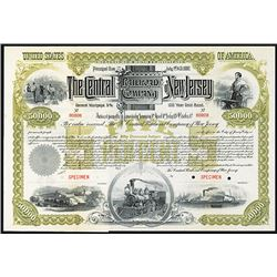 Central of New Jersey Railroad Co. 1887, Specimen Bond.