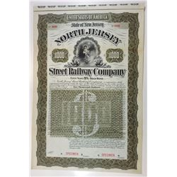 North Jersey Street Railway Co., 1896 Specimen Bond.