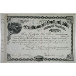 New Mexico and Southern Pacific Railroad Co. 1880 Issued Stock Certificate