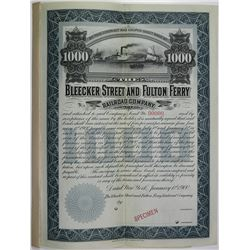 Bleecker Street and Fulton Ferry Railroad Co., 1900 Specimen Coupon Extension Agreement Bond.