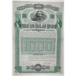Central New York and Western Railroad Co. 1892 Issued Bond