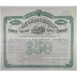 Great Southern Lumber and Railway Supply Co. 1882. I/U Bond.