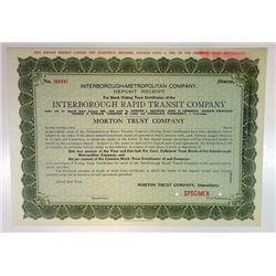 Interborough Rapid Transit Co. 1906 Specimen Stock Certificate - Deposit receipt for stocks and bond