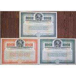Interborough-Metropolitan Co., ND (ca.1900-1910) Specimen Trio of Bonds