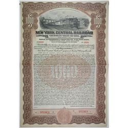 New York Central Railroad Equipment Trust, 1917 Specimen Bond