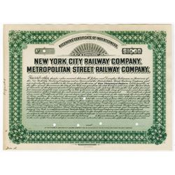 New York City Railway Co. Metropolitan Street Railway Co., 1908 $1000 Proof Bond