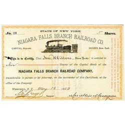 Niagara Falls Branch Railroad Co., 1883 I/C Stock Certificate.