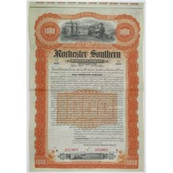 Rochester Southern Railroad Co. 1895 Specimen Bond Rarity