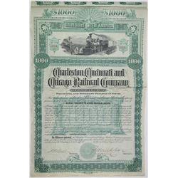 Charleston, Cincinnati & Chicago Railroad Co. 1887 I/U Bond Rarity