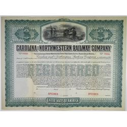 Carolina and Northwestern Railway Co. 1903 Specimen Bond