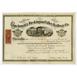 Cincinnati & Muskingum Valley Railway Co. I/U Stock Certificate.